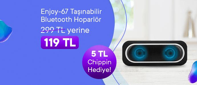 Enjoy-67 Bluetooth Hoparlör 299 TL yerine sadece 119 TL, 5 TL Chippin hediye