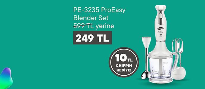 ProEasy Blender Set 599 TL yerine sadece 249 TL ve 10 TL Chippin hediye